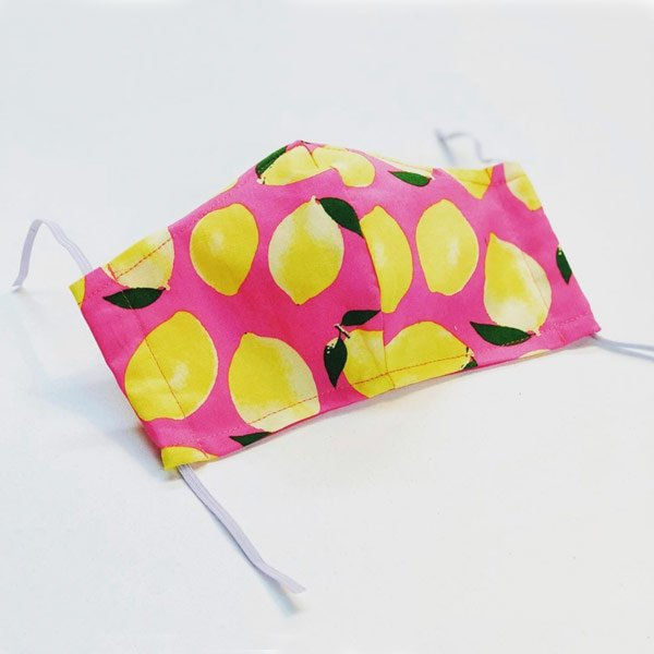 Face mask pink with lemons